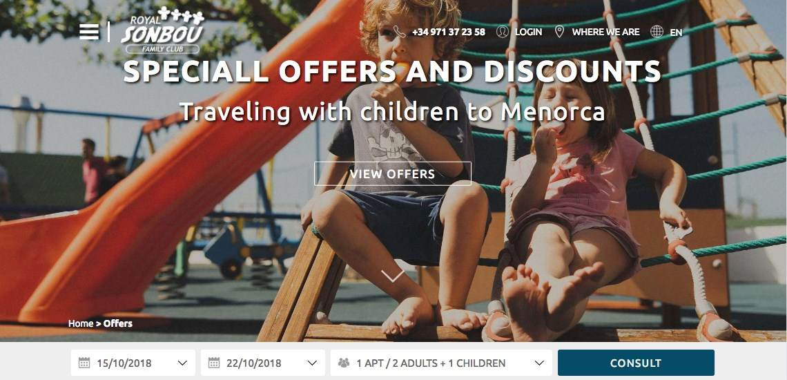 Special offers traveling  with  children to Menorca